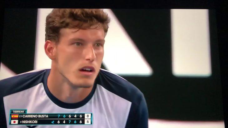 全豪オープンテニス 2019 錦織 VS カレノブスタ 猛抗議したゲームからマイケルチャンの目にうっすら涙のシーンまで。。