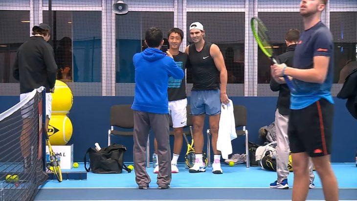 望月慎太郎(Shintaro Mochizuki) practice with Rafael Nadal 2019 Nitto ATP Finals