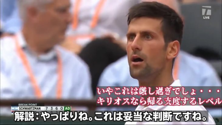 【テニス/和訳】ジョコビッチ 厳しすぎる警告を喰らう 全仏OP2017 3rdラウンド