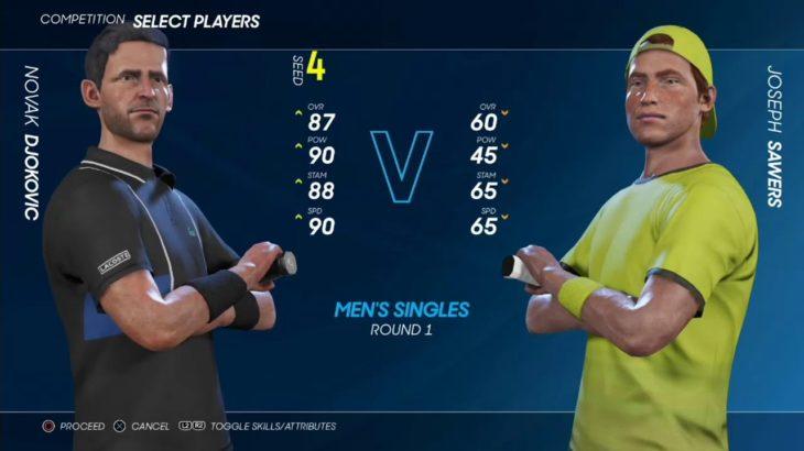 【AO Tennis2】  第4ブロック  ノバク・ジョコビッチ(第4シード)vsサワース CPUトーナメント 1回戦