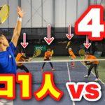 【テニス】プロテニス選手に勝つまで人増やしたら何人で勝てる????