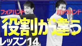 【テニス】初心者レッスン14:バックハンドとフォアハンドの役割の違いと距離の取り方