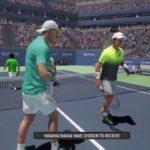 PS4のテニスゲームで身長差30cmの試合してみたAO International tennis ケビンアンダーソン・ジョンイスナーペア対ゲームキャラペア