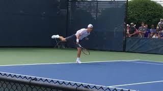 日本が誇る男子テニスの代表的選手ですある錦織圭さんの練習風景(2018 ウエスタン & サザン テニスオープン@シンシナティ、オハイオ州にて)