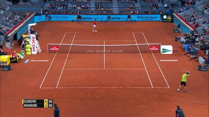 Nishikori (錦織) VS Djokovic (ジョコビッチ) Madrid 2016