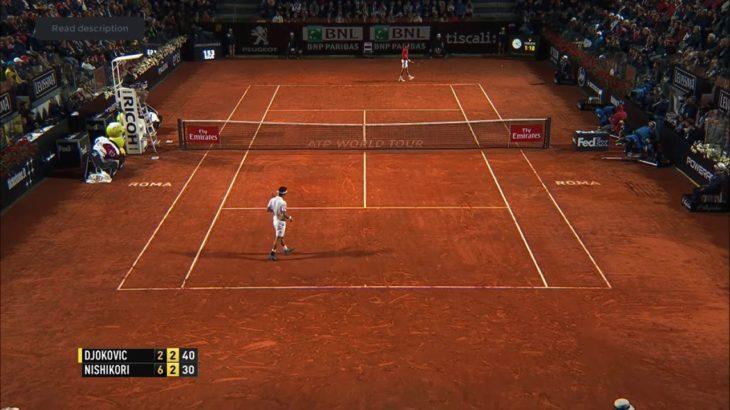 Nishikori (錦織) VS Djokovic (ジョコビッチ) Rome 2016
