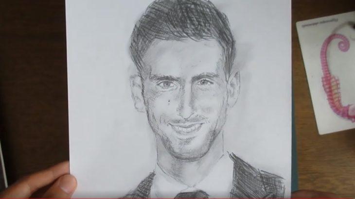 ノバク・ジョコビッチ 鉛筆画 Novak Djokovic Pencildrawing