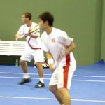 錦織圭 /R.ベランキス  Kei Nishikori (JPN) / R.Berankis (LTU) Warm-up SAP Open 2011
