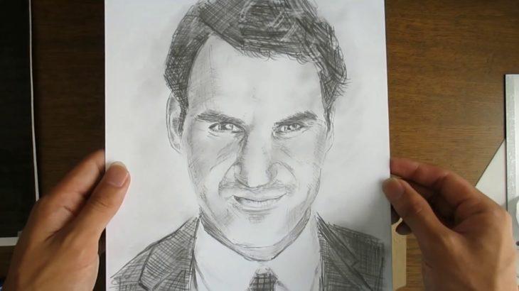 ロジャー・フェデラー 鉛筆画 Roger Federer Pencildrawing