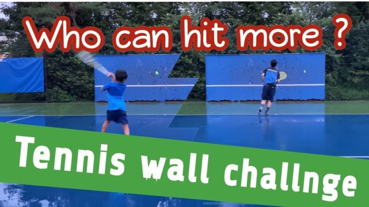 Tennis Wall challenge against Dad / お父さんとテニスの壁打ち勝負