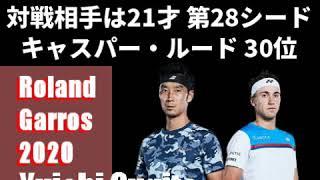 錦織圭 他  全仏オープンテニス2020の日本選手の対戦カード