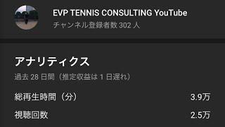 <『EVP TENNIS CONSULTING』>チャンネル登録者数300人突破w