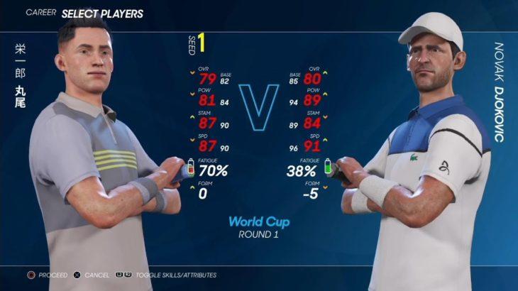#10【AO TENNIS 2】丸尾 栄一郎 vs ノバク・ジョコビッチ ワールドカップ1回戦 【ベイビーステップ】シーズン2