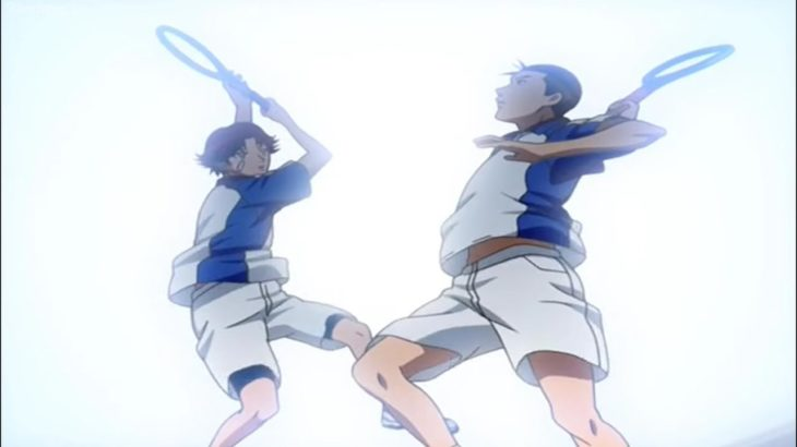 テニスの王子様 OVA 全国大会編 #12 – ゴールデンカップル:菊丸大石vs獅子堂鳳 – Golden Couple: Kikumaru-Oishi vs Shishido-Ootori