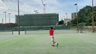 【テニス】早いタイミングでのバックハンド | Tennis Practice: hit backhand at a fast tempo