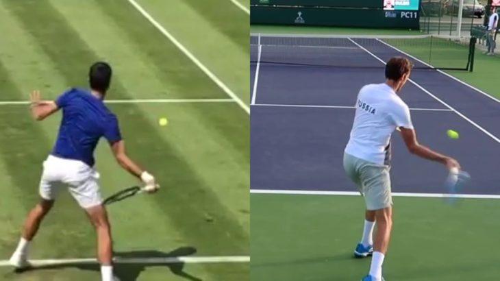 Daniil Medvedev or Novak Djokovic Forehand Comparison メドベージェフとジョコビッチのフォアハンド比較