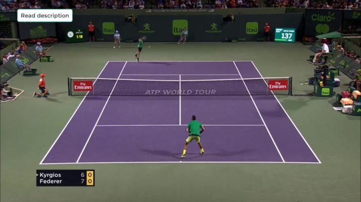 Federer (フェデラー) VS Kyrgios (キリオス) Miami