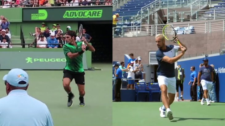 Roger Federer and Richard Gasquet Backhand Comparison フェデラー、ガスケのバックハンド比較