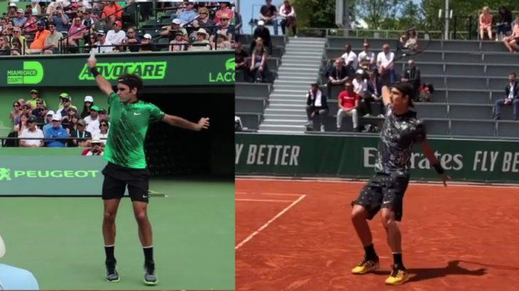 Roger Federer or Lorenzo Musetti  Backhand Comparison フェデラー、ムゼッティのバックハンド比較