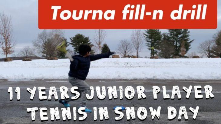 Tennis in Snow Day using Tourna fill-n-drill /Tournaテニストレーナーを使って雪の日にテニス