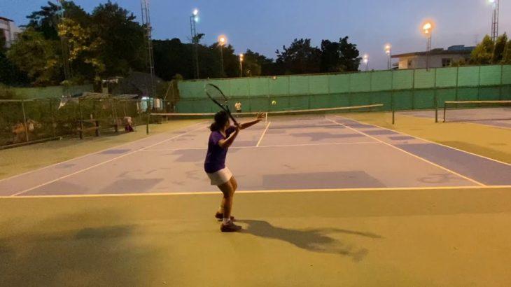 テニス ジュニア10歳 女子 ハードヒットを意識したラリー練習 Tennis junior RIO 10years girl practice hard hit mind