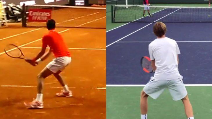 Andrey Rublev or Novak Djokovic Backhand Comparison ルブレフ、ジョコビッチのバックハンド比較