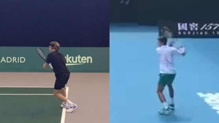 Andrey Rublev or Novak Djokovic Forehand Comparison ルブレフ、ジョコビッチのフォアハンド比較