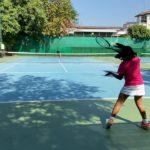 テニス ゲーム形式 ジュニア11歳女子&足の速い声出し兄さん Tennis junior girl 11years and run fast loud voice bro