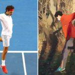 テニス- ロジャー・フェデラー フォアハンドとバックハンドの模倣