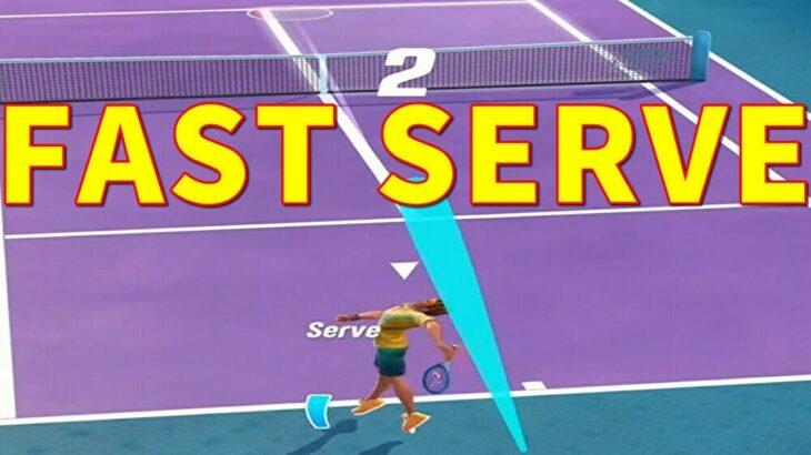 テニスクラッシュサービスエースを狙って速いサーブで勝負する