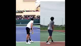 【Serve 】Practice imitating Federer Day1/ フェデラー選手の物真似練習1日目