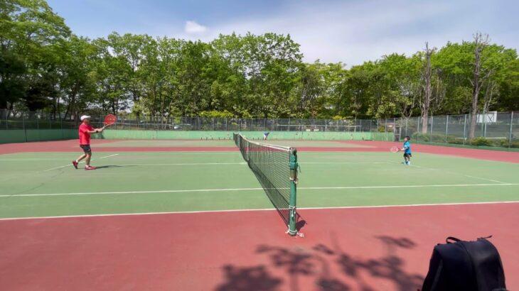 【子供テニス】5歳児との5分間ラリー  -Tennis Rally with my kid aged 5 for 5 minutes