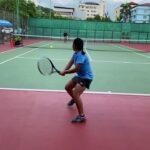 【テニス】11歳女子 手首を固定してトップスピンを打つ練習 2021/6/17 Fix wrist and hit the top spin.