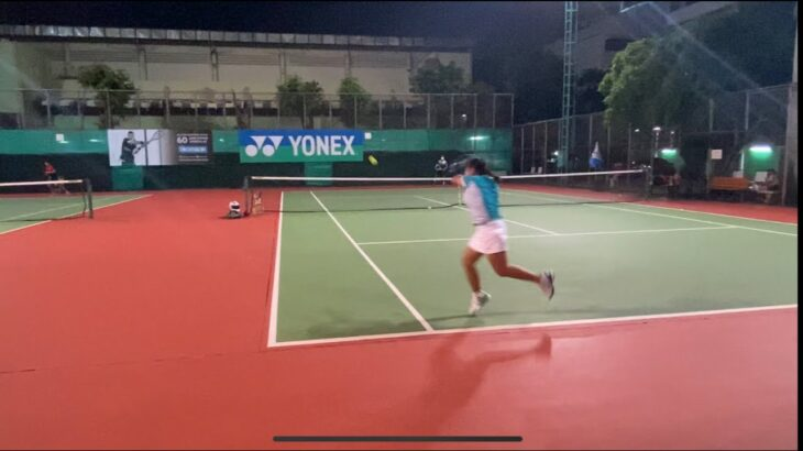 【テニス】11歳女子 サーブからのバックハンドダウンザライン Tennis junior Backhand Down the line
