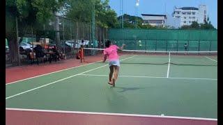 【テニス】11歳女子 オープンコートを作ってチャンスボールを打つ 2021/6/30 Make an open court and hit a chance ball