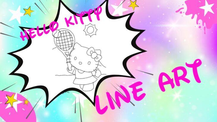 HELLO KITTY PLAYING TENNIS. LINEART. ハローキティテニス. Hello Kitty jogando tênis. #shorts