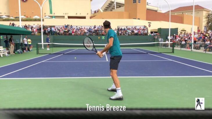 Roger Federer / Tomas Berdych Practice / フェデラーの両手打ちバックハンドにも注目