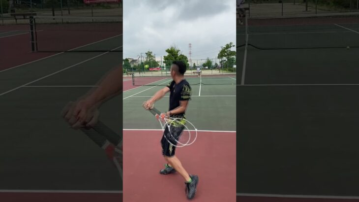 【tennis】厚い当たりの片手バックハンドの打ち方 #Shorts