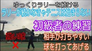 [硬式テニス]まずは最初に強い球を打つのではなくラリーを続ける事を意識して打つ!!約29回のラリー!!