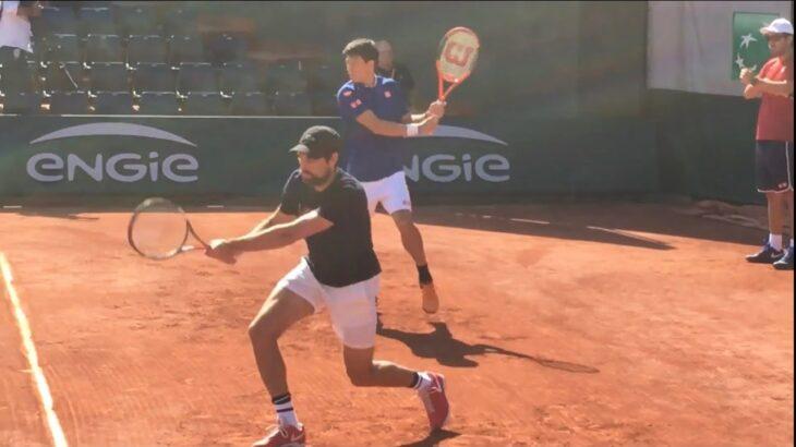 Kei Nishikori & Jeremy Chardy practice【Roland Garros 2017】