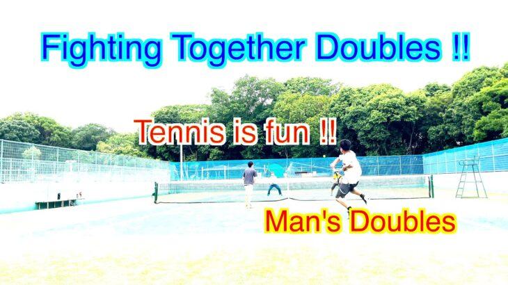 【 テニス ダブルス/tennis doubles 】(4K映像) 楽しい 男子ダブルス テニスに挑戦!!