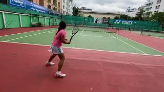 【テニス】11歳女子 ヒッティングコーチとゲーム形式 Tennis  11years Girl  practice match with hitting coach 23/OCT/2021