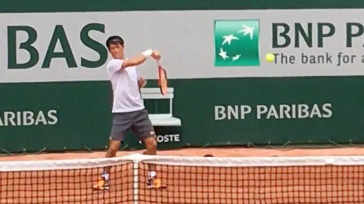 Kei Nishikori practice【Roland Garros 2017】 錦織圭の練習 全仏オープン2017
